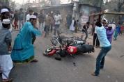 Radical Islamists vandalising a motorbike in Barisal