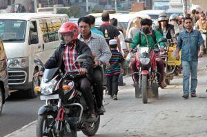 bikers on the padestrian walks